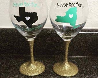 best friend wine glass set