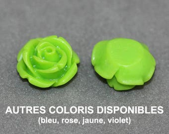 9 x 14 mm resin flower - CAB green cabochon - 0009.7.M