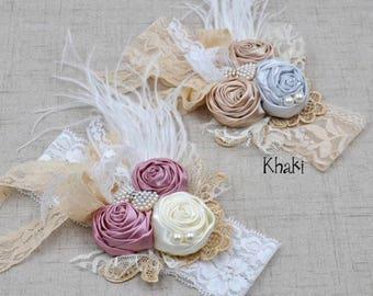 Baby Pink Rose Vintage lace Flower Headbands, Pearls & Lace Headbands. Pink and Cream lace headband, baby headband, flower headband