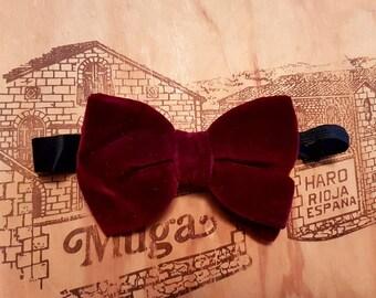 Vintage Burgundy Plush Wide Velvet Pre-tied Bow Tie