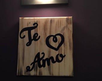 Te Amo Wall Sign