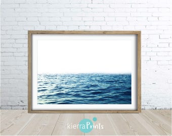 Ocean Print, Waves, Water, Coastal Wall Decor, Beach Art, Large Poster, Digital Download, Modern, Deep Blue, Trending, Relaxed Vibe, Luxe