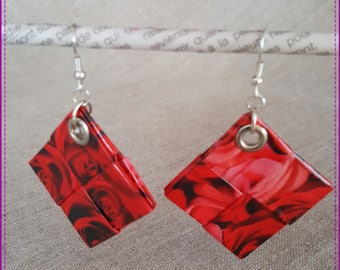 Earrings made of recycled paper, laminated on the theme of roses