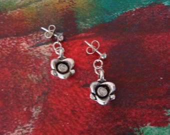 Metal Pink Flower Earrings