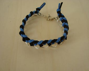 Black and blue chain bracelet double ring