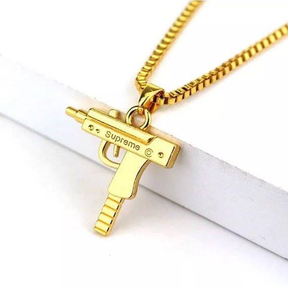 Supreme Mini Uzi 18K Gold Chain