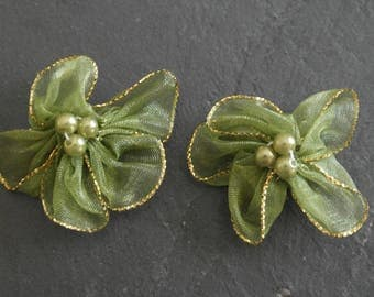 2 fabric khaki lettering satin flowers, jewelry.