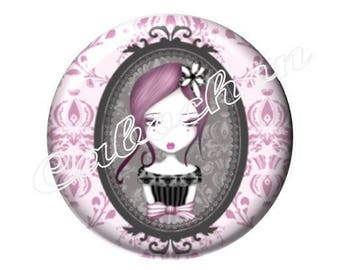 1 cabochon 30mm glass, little girl