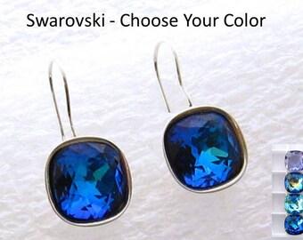Bermuda Blue Crystal Earrings/Swarovski Blue Silver Dangle Earrings/Dark Blue Wedding Earrings/Bridal Square Earrings/Prom Blue Earrings