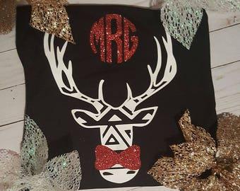 Aztec Deer Monogram Shirt/Personalized Vinyl Professional Grade Shirt/Custom Preppy Cute Girl Shirt/Glitter Girly gift/Mothers Day gift