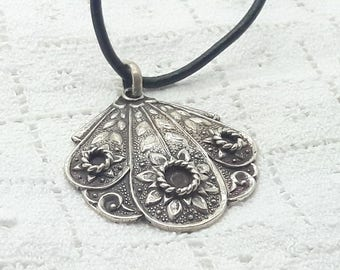 Vintage Sterling Silver Pendant on Black Leather Cord Sliding Choker/Handmade/Free Shipping US/Present for her/Christmas Gift/Birthday Gift