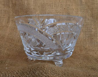 Vintage Diamond Cut Glass Footed Candy Dish, Compote, 1960's, Vintage Cut Glass, Home Decor, Home Accents, Collectables, Shabby Chic, Boho