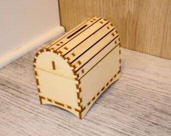 Chest 01376 light wooden piggy bank.