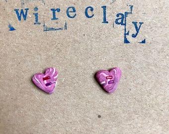 Valentine's Heart Shaped Stud Earrings