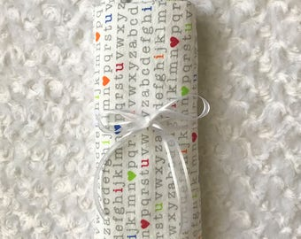 Extra large ABCs flannel receiving blanket Personalized; alphabet baby swaddle blanket; ABC flannel blanket