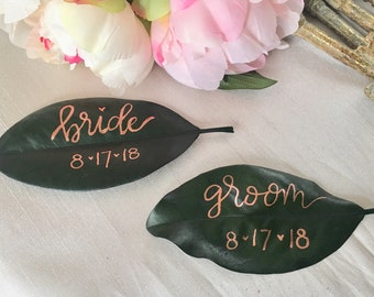 Magnolia Leaf, Custom Magnolia Leaf, Magnolia Place Cards, Rose Gold Ink, Magnolia Leaves, Leaf Place Cards, Rose Gold Place Cards, Custom