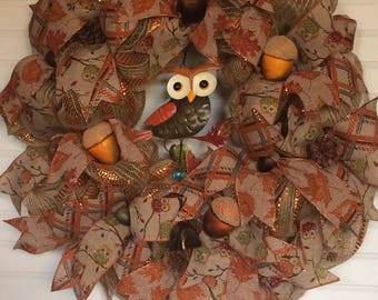 Fall Wreath, Front Door Wreath, Deco Mesh Wreath, Burlap Wreath, Wreath, Welcome Wreath, Wreath for Front Door, Owl Wreath