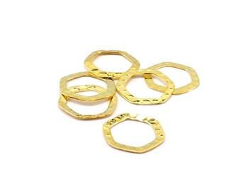 Set of 15 rings hexagonal metal Golden