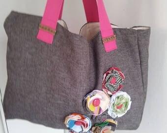 fabric bag shoulder bag with flower applications