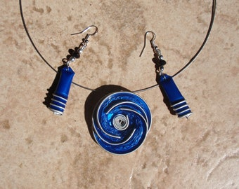 Necklace and earrings handmade nespresso capsules