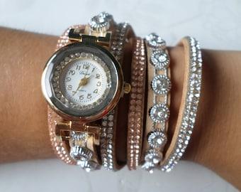 x 1 wristwatch leather PU coffee Multi strand pattern rhinestones/goldtone 40 cm