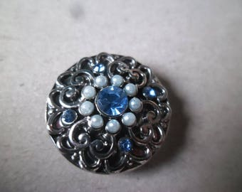 "x 1 ""jewel"" pattern blue rhinestone silver heart 20 mm snap button"