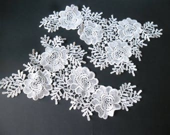 x 1 pair of guipure lace floral white Venice sewing polyester 31 x 24 cm No. 34