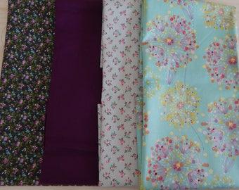 4 Fat Quarter bundle, quilting fabric, fabric