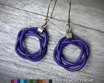 leather earrings, celtic knot earrings, celtic leather earrings