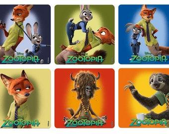 "25 Zootopia Stickers, 2.5"" x 2.5"""