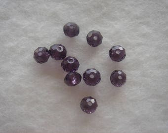 pearls Crystal briolettes 6 x 4 old purple set of 10