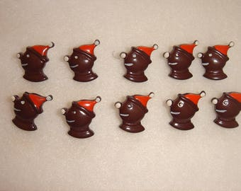 10 buttons vintage chocolate brown clowns for knitting or sewing clothes