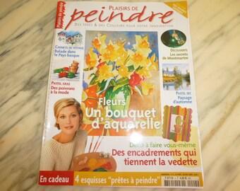 livre plaisirs de peindre aquarelles et pastel numéro 4 année 2004 avec 4 esquisses prêtes à peindre