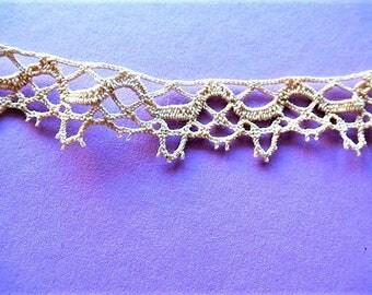 lace trim vintage embroidery pure cotton Ecru color 2.1 yarn cm for creation