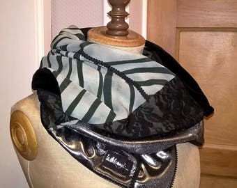 Scarf/scarf of reversible designer with zipper