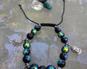Buddha Charm Macrame Bracelet, Adjustable Bracelet