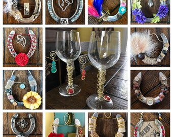 Real decorated horseshoes made with an artistic flair. From western to classy to Derby themed, these horseshoes are unique. A great gift!