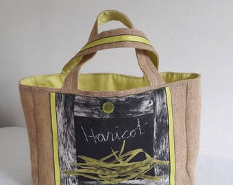 "Burlap Tote, ""bean"" face, and lime green coated cotton"