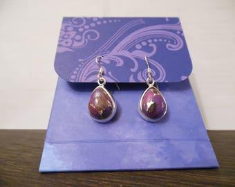 Purple copper/Silver Turquoise Earrings