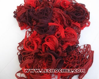 Spring ruffle scarf mottled red-Burgundy