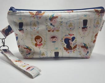 Peter Pan & Friends Wedge Project Bag for Knitting or Crochet, Travel/Makeup bag, too!