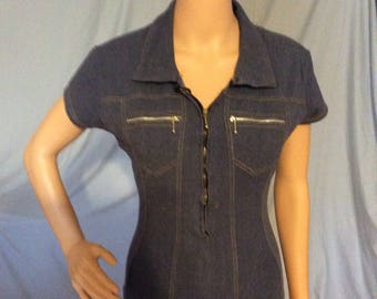 Designer Cristina; Denim onsie, bodysuit,Mod,vintage,retro size small-medium