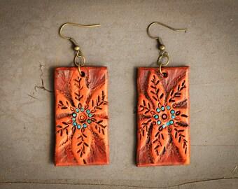 Sloane Flower Earrings | Leather Earrings | Birthday Gift | Anniversary | Gifts under 25 | Handmade | Gifts for Her