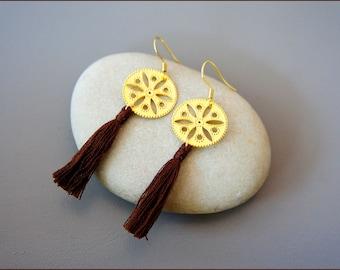 Rose gold filigree and cotton tassel earrings