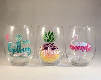1 Glass Personalized Mermaid Flamingo, Pineapple Stemless Wine Glasses for Girls Weekend, Beach, Vacation, Bunko, Birthday