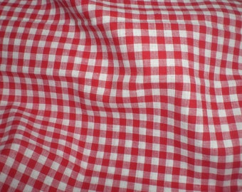 Fabric cotton red and white gingham Plaid medium
