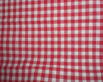 Gingham red 100% cotton Plaid 6 mm - price per meter