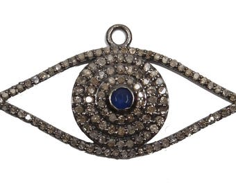 925 Solid Silver Pave Diamond Evil Eye Pendant With Sapphire