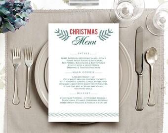 Winter Wedding Menu Template Christmas Menu Holiday Dinner Printable Menu Cards Winter Party Rustic Menu Green Red Botanical Editable Menu