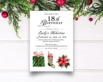 Christmas Birthday Invitation Printable Winter Birthday Party Invite Watercolour Poinsettia Christmas Sock Present Invitation Editable PDF